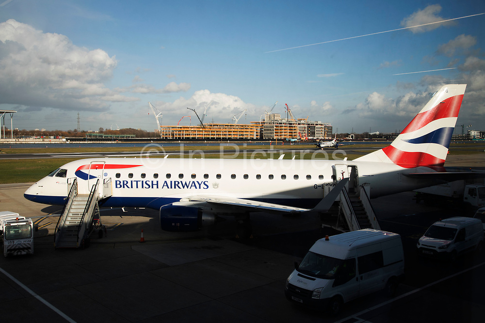 British Airways flights from London City Airport in London, England, United Kingdom. London City Airport is an international airport located in the Royal Docks in the London Borough of Newham, east of the City of London in the Docklands area. It is an incredibly convenient airport for business travel.