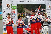 MOTORSPORT - WORLD RALLY CHAMPIONSHIP 2010 - RALLY BULGARIA / RALLYE DE BULGARIE - BOROVETS (BUL) - 08 TO 11/07/2010 - PHOTO : FRANCOIS BAUDIN / DPPI - <br /> SEBASTIEN LOEB (FRA) / DANIEL ELENA (MON) - CITROEN TOTAL RALLY TEAM - CITROEN C4 WRC - PODIUM - AMBIANCE DANI SORDO (SPA) / MARC MARTI (SPA) - CITROEN TOTAL RALLY TEAM - CITROEN C4 WRC - PETTER SOLBERG (NOR) - PETTER SOLBERG WRT - CITROEN C4 WRC - AMBIANCE PORTRAIT