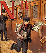 Newsboy running along the platform and selling papers to passengers on a railway train. 19th century chromolithograph.