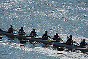 Chiswick, London, Great Britain.<br /> Crew leaving hiswick Bridge, during the 2016 Schools Head of the River Race, Reverse Championship Course Mortlake to Putney. River Thames.<br /> <br /> Thursday  17/03/2016<br /> <br /> [Mandatory Credit: Peter SPURRIER;Intersport images]