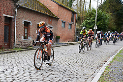 Jip van den Bos (NED) leads onto the cobbles at Le Samyn des Dames 2019, a 101 km road race from Quaregnon to Dour, Belgium on March 5, 2019. Photo by Sean Robinson/velofocus.com