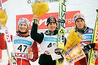 Hopp , FIS World Cup Ski jumping , Holmenkollen 09. Mars 2008 , Gregor Schlierenzauer AUT , Tom Hilde NOR og Bjørn Einar Romøren NOR , Foto: Thomas Andersen , Digitalsport