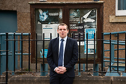 Loanhead, Scotland, UK. 31 March 2021. Scottish Conservatives leader Douglas Ross  unveils a series of criminal justice policies while vowing to always prioritise the rights of victims at a former police station, now closed, in Loanhead, Midlothian. Iain Masterton/Alamy Live News