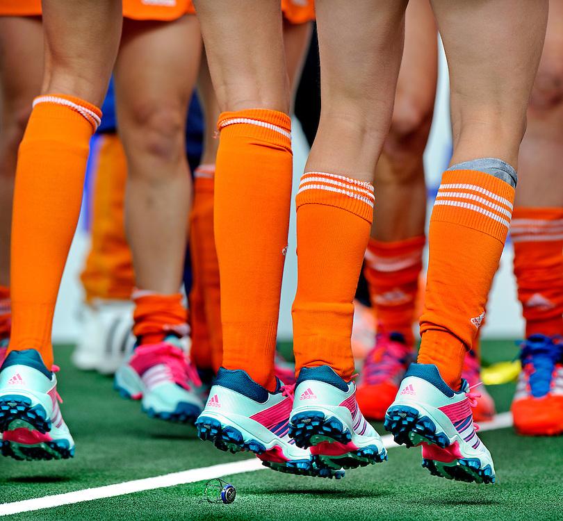 The Netherlands, the Hague, 14-06-2014.<br /> Field Hockey, world championships, final, women<br /> The Netherlands - Australia : 2-0.<br /> The Dutch women celebrate the victory over Australia during the finale of the field hockey world championships.<br /> Photo : Klaas Jan van der Weij