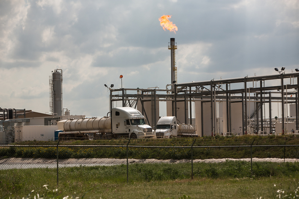 Fracking industry compressor station in Karnes County, Texas in the heart of the Eagle Ford Shale region.