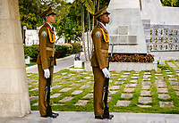 SANTIAGO DE CUBA, CUBA - CIRCA JANUARY 2020:  Change of guards at the Jose Marti Mausoleum at the Santa Ifigenia Cemetery in Santiago de Cuba. This is the resting place of a few notable Cubans, including Jose Marti and Fidel Castro among others.