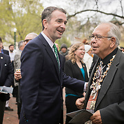 Virginia Governor, Ralph Northam and Chief Ken Adams, of the Upper Mattaponi, prior to the dedication ceremony for Mantle: Virginia Indian Tribute, a monument designed on Virginia State Capitol Square, in Richmond, Virginia, on Tuesday, April 17, 2018. John Boal Photography