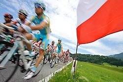 03.07.2011, AUT, 63. OESTERREICH RUNDFAHRT, 1. ETAPPE, DORNBIRN-GOETZIS, im Bild ein Feature mit dem Feld waehrend der Etappe nach Goetzis // during the 63rd Tour of Austria, Stage 1, 2011/07/03, EXPA Pictures © 2011, PhotoCredit: EXPA/ S. Zangrando
