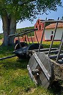 Wooden wagon, La Purisma Mission State Historical Park, near Lompoc, Santa Barbara County, California