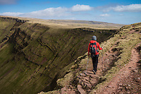 Female hill walker hiking towards Waun Lefrith along Carmarthen Fans, Black Mountain, Brecon Beacons national park, Wales