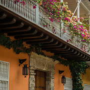 Wonderful architecture in the San Diego section of the Old City, Cuidad Vieja, Cartagena, Colombia.
