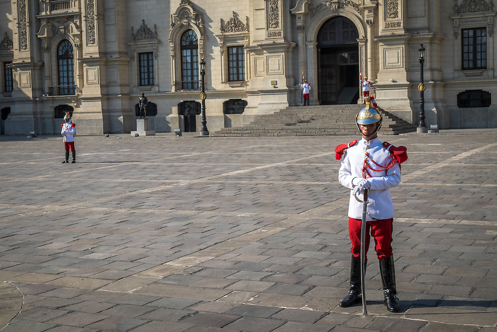 LIMA, PERU - CIRCA APRIL 2014: Guards in the Government Palace of Peru, in the Lima Historic Centre.