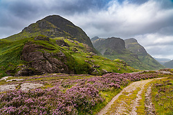 View from Old Military Road of Beinn Fhada, part of Bidean Nam Bian also known as the Three Sisters of Glencoe, Highland Region, Scotland, UK