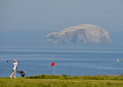 Golfers took to the tees at Winterfield Golf Course in Dunbar in the shadow of the Bass Rock on the first day of phase 1 of the reduction in Covid lockdown in Scotland.<br /> <br /> © Dave Johnston / EEm