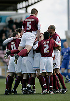 Photo: Marc Atkins.<br /> Northampton Town v Rochdale. Coca Cola League 2. 08/04/2006. <br /> Northampton players celebrate after Josh Low's opener.