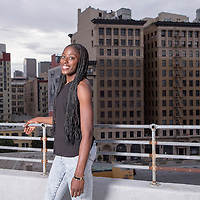 Chiney Ogwumike poses on a rooftop, in downtown Los Angeles, California, USA.