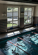 """Trivero, Fondazione Zegna. the public swimmingpool.     Fondazione Zegna was set up on 1st December 2000 by the Zegna Family.<br /> <br /> Its mission is to give continuity to the values, philosophy and work of Ermenegildo Zegna, who in 1910 in Trivero, in the Biella Alps, founded the wool mill that carries his name to this day. Following his example, quality and dedication may live in harmony with protection of our natural environment, social wellbeing and the cultural development of the local community.<br /> <br /> Fondazione Zegna is based in Trivero, where Casa Zegna, an historical archive and cultural center, and Oasi Zegna, an """"open-air laboratory"""" covering over 100 km2 and focusing on relationships between people, mountain culture and nature, are also situated.<br /> <br /> As the Zegna Group grows, the Foundation plans and coordinates international humanitarian initiatives in four areas of activity:<br /> - conservation and amelioration of environmental and cultural resources;<br /> - fostering of sustainable development in local communities, in Italy and beyond;<br /> - support for medical and scientific research;<br /> - education and training for young people."""