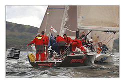 Yachting- Sundays inshore racing  of the Bell Lawrie Scottish series 2003 at Tarbert Loch Fyne. Again light westerly winds and flat water made for tactical racing...Mumm 36 Absolutely 2 , Class one...Pics Marc Turner / PFM