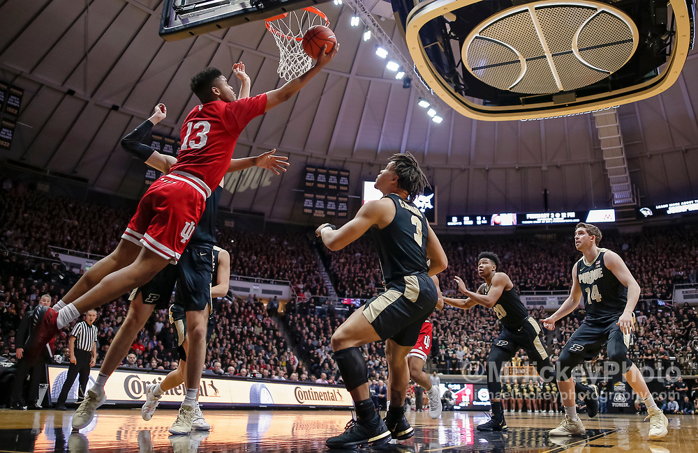 WEST LAFAYETTE, IN - JANUARY 19: Juwan Morgan #13 of the Indiana Hoosiers shoot the ball during the first half of the game against the Purdue Boilermakers at Mackey Arena on January 19, 2019 in West Lafayette, Indiana. (Photo by Michael Hickey/Getty Images) *** Local Caption *** Juwan Morgan