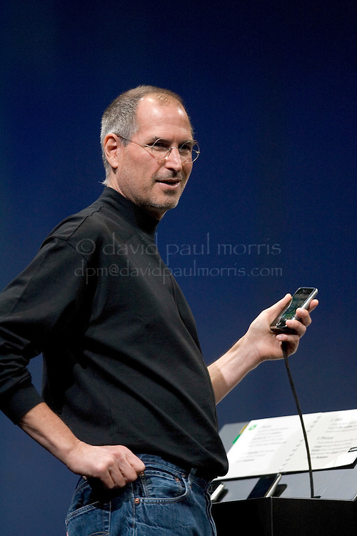 SAN FRANCISCO, CA - JANUARY 9: Apple CEO Steve Jobs delivers his keynote speech at Macworld on January 9, 2007 in San Francisco, California. During the keynote Jobs introduced the new iPhone which will combine a mobile phone, a widescreen iPod with touch controls and a internet communications device with the ability to use email, web browsing, maps and searching. The iPhone will start shipping in the US in June 2007. (Photograph by David Paul Morris)