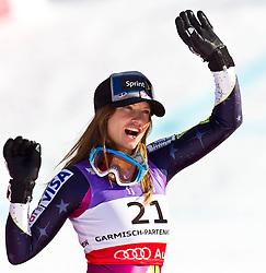 08-02-2011 SKIEN: FIS ALPINE WORLD CHAMPIONSSHIP: GARMISCH PARTENKIRCHEN<br /> Julia MANCUSO (USA) second Place during Women Super G, Fis Alpine Ski World Championships in Garmisch Partenkirchen<br /> **NETHERLANDS ONLY**<br /> ©2011-WWW.FOTOHOOGENDOORN.NL/NPH-J. Feichter