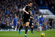 Harry Maguire of Leicester City in action. Premier League match, Chelsea v Leicester City at Stamford Bridge in London on Saturday 13th January 2018.<br /> pic by Steffan Bowen, Andrew Orchard sports photography.