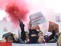 Football - 2020 / 2021 Premier League - Arsenal vs Brighton & Hove Albion - Emirates Stadium<br /> <br /> Arsenal fans protest about the owner, Stan Kroenke outside the stadium with flairs and banners saying 'Kroenke Out'<br /> <br /> Credit : COLORTSPORT/ANDREW COWIE