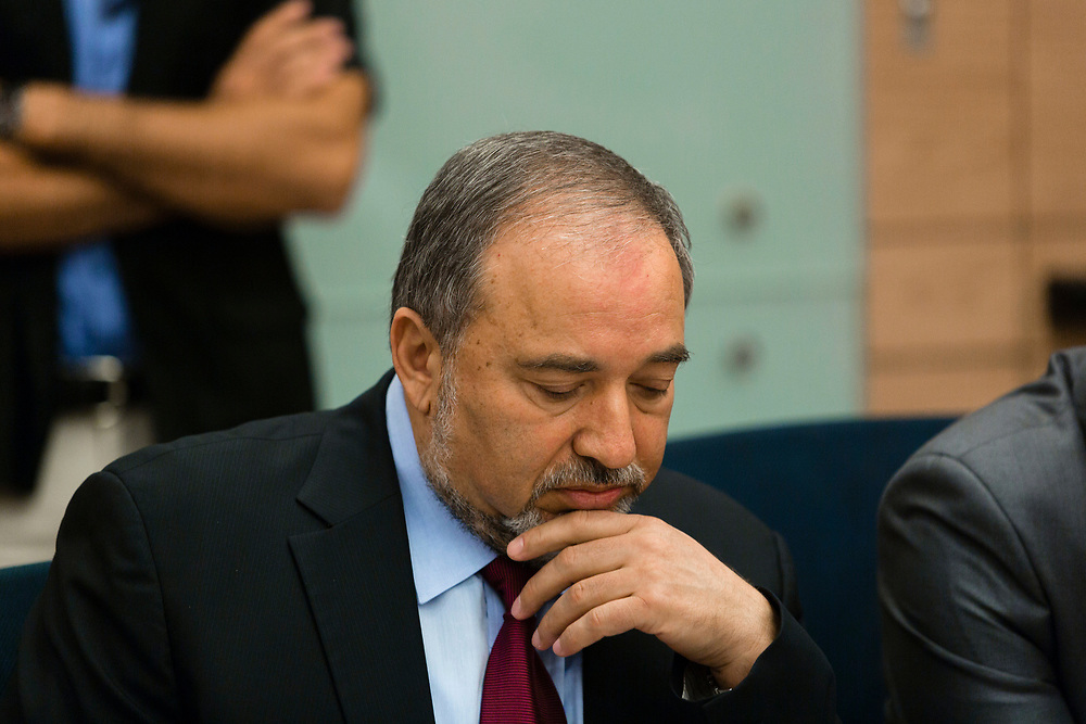 Israel's Foreign Minister, Avigdor Lieberman, attends a session of the Foreign Affairs and Defense Committee at the Knesset, Israel's parliament in Jerusalem, on August 4, 2014.