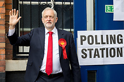 June 8, 2017 - London, UK - Leader of the Labour Party JEREMY CORBYN leaves a Polling Station in Islington after voting in the 2017 General Election. (Credit Image: © Tom Nicholson/London News Pictures via ZUMA Wire)