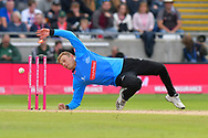 Wicket - Danny Briggs of Sussex geta a touch on the ball to run out Tom Abell of Somerset during the Vitality T20 Finals Day semi final 2018 match between Sussex Sharks and Somerset County Cricket Club at Edgbaston, Birmingham, United Kingdom on 15 September 2018.