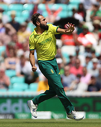 South Africa's Imran Tahir celebrates after taking the wicket of Bangladesh's Shakib Al Hasan during the ICC Cricket World Cup group stage match at The Oval, London.
