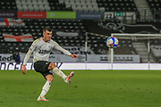 Jason Knight of Derby County (38) crosses the ball during the EFL Sky Bet Championship match between Derby County and Cardiff City at the Pride Park, Derby, England on 28 October 2020.