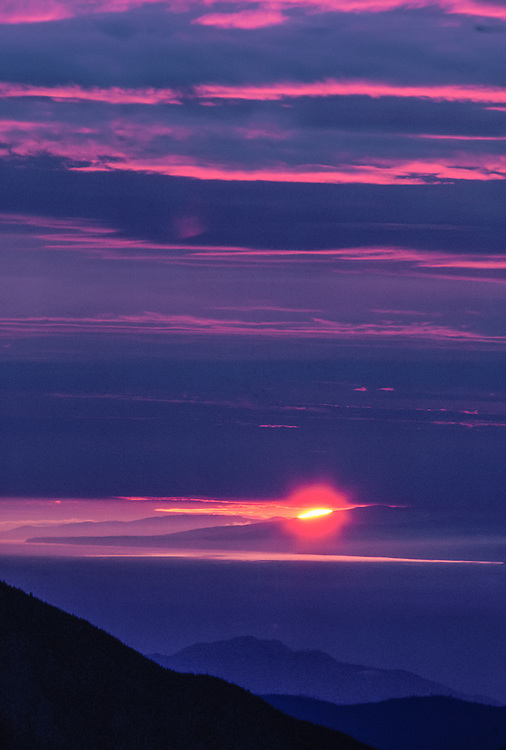 Th Strait of Juan de Fuca and Vancouver Island viewed from Deer Park, sunset, Olympic National Park, Washington, USA