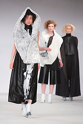 © Licensed to London News Pictures. 02/06/2014. London, England. Birmingham City University, collection by Lucy Helen Crossley. Graduate Fashion Week 2014, Runway Show at the Old Truman Brewery in London, United Kingdom. Photo credit: Bettina Strenske/LNP