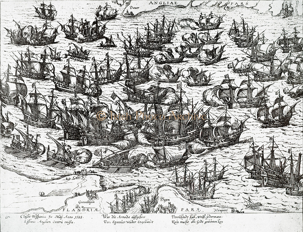 The Invincible Fleet. The Spanish Armada was the fleet that sailed against England under the command of the Duke of Medina Sidonia in 1588 with the intention of overthrowing Elizabeth 1 of England to stop the English involvement in the Spanish Netherlands and English privateering in the Atlantic and the Pacific.