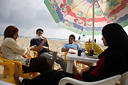 Teenagers on the beach in Tyre, South Lebanon.