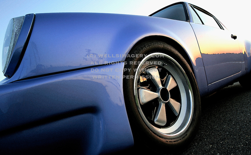 Image of blue sports car in Seattle, Washington, Pacific Northwest, property released, 1974 Porsche 911 RS look