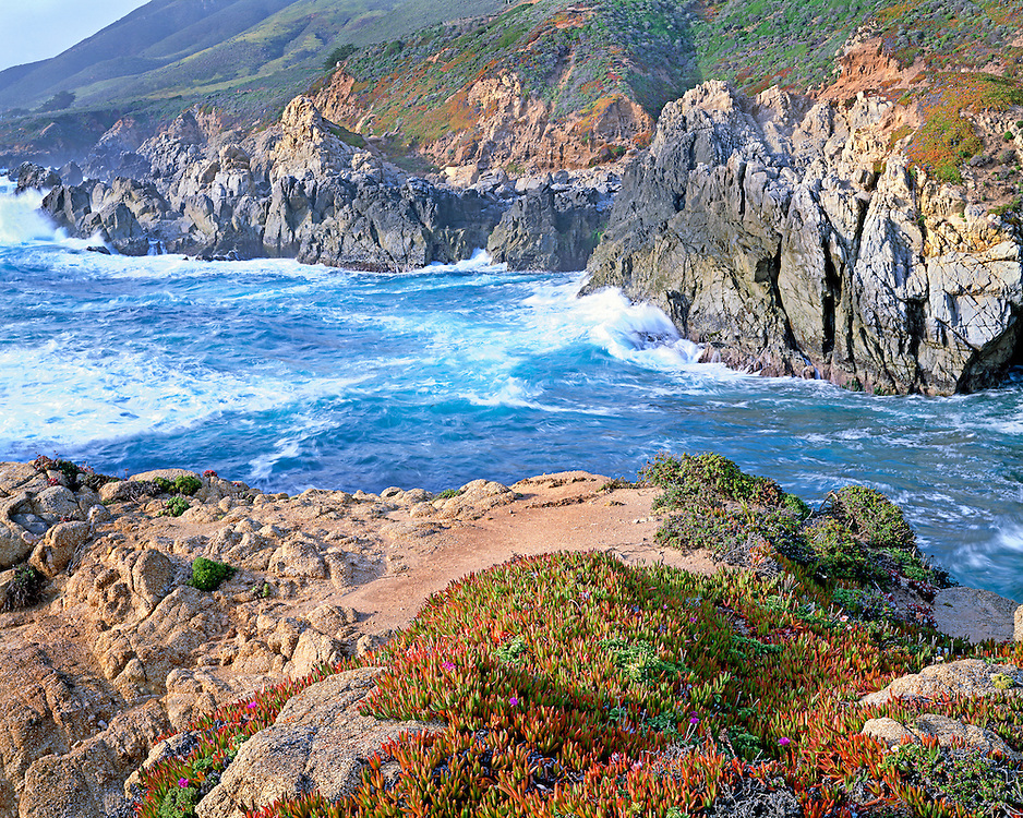 Breaking waves at Big Sur CA.