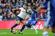 Tottenham's Mousa Dembele (l) and Chelsea's N'Golo Kante challenge for the ball. The Emirates FA Cup semi-final match, Chelsea v Tottenham Hotspur at Wembley Stadium in London on Saturday 22nd April 2017.<br /> pic by Carl Robertson,  Andrew Orchard sports photography.