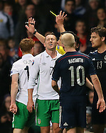 Aiden McGready of Ireland reacts to his last minute yellow card - UEFA Euro 2016 Qualifier - Scotland vs Republic of Ireland - Celtic Park Stadium - Glasgow - Scotland - 14th November 2014  - Picture Simon Bellis/Sportimage