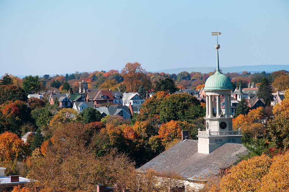 Looking across Bethlehem towards the west side from City Hall with the Central Moravian Church in the foreground .
