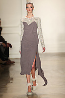 Sigrid Agren walks the runway wearing Altuzarra Fall 2011 Collection during Mercedes-Benz Fashion Week in New York on February 12, 2011