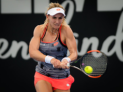 December 31, 2018 - Brisbane, AUSTRALIA - LESIA TSURENKO of the Ukraine in action against Mihaela Buzarnescu of Romania during their first-round match at the 2019 Brisbane International WTA Premier tennis tournament. Tsurenko won 6:0, 6:2.  (Credit Image: © AFP7 via ZUMA Wire)