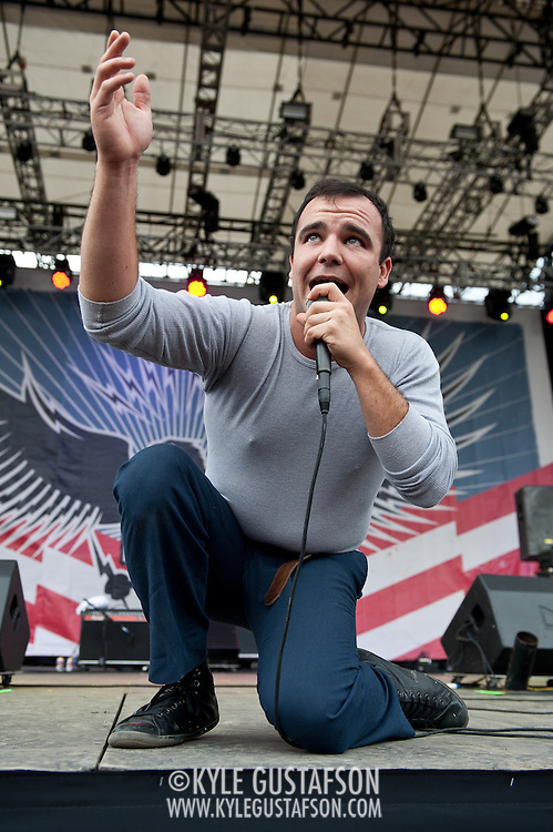 COLUMBIA, MD - October 6th, 2012 - Samuel T. Herring of Baltimore's Future Islands performs on the West Stage at the 2012 Virgin Mobile FreeFest in Columbia, MD. (Photo by Kyle Gustafson / For The Washington Post)