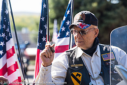 Don Breidenbach of Spearfish, US Army vet and Spearfish Chapter 164 American Legion Rider, at a stop in Pierre during the USS South Dakota submarine flag relay from Sturgis to Aberdeen on day one. SD. USA. Saturday October 7, 2017. Photography ©2017 Michael Lichter.