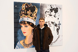 "© Licensed to London News Pictures. 06/06/2019. London, UK. 22 year old artist, model and skateboarder Blondey with his artwork featuring the late Princess Diana titled ""Queen Di. II."" 2019. The work is showing at The Ronchini Gallery. Photo credit: Ray Tang/LNP"