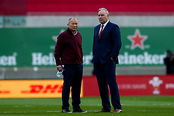 Wales head coach Wayne Pivac speaks with England head coach Eddie Jones - Mandatory by-line: Robbie Stephenson/JMP - 28/11/2020 - RUGBY - Parc y Scarlets - Swansea, Wales - Wales v England - Autumn Nations Cup