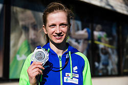 Tina Sutej 2nd place in pole vault at European Championships during reception and press conference on return of Slovenian Athletic National team from European Championships in Torun (POL), on March 8, 2021 in  Ljubljana, Slovenia.  Photo by Grega Valancic / Sportida