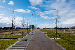 View of  Shawfield new footpath and landscaping part of  redevelopment in  East End of Glasgow , Scotland, United Kingdom