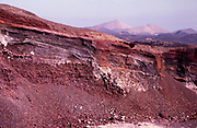 Cross section of ash, lava, cinder, extrusions from previous volcanic eruptions, Lanzarote, Canary Islands, Spain 1979